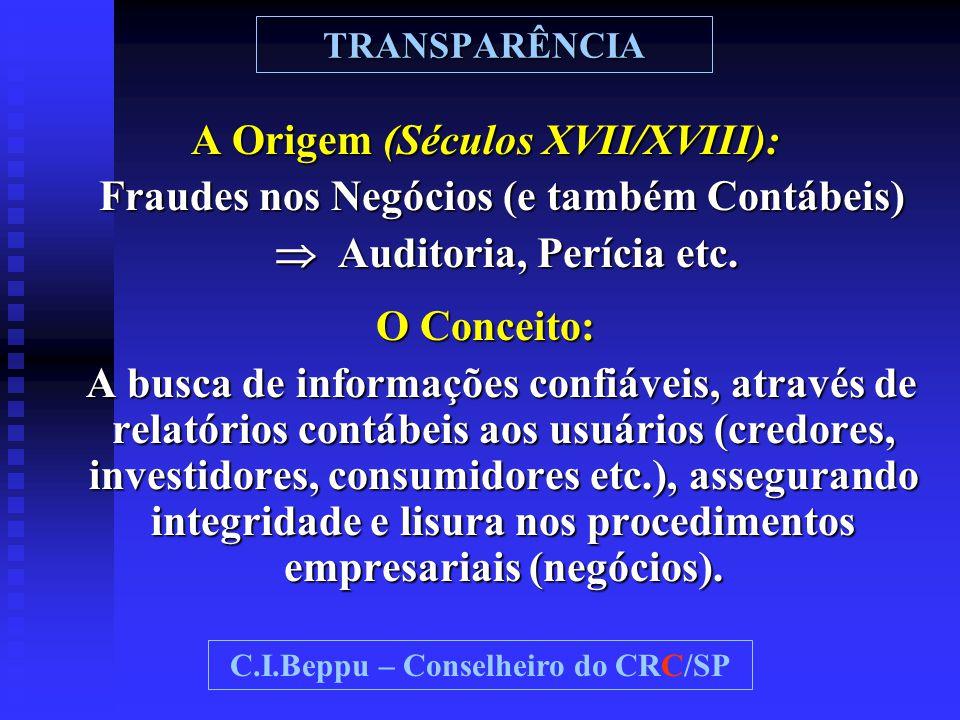 TRANSPARÊNCIA A Origem (Séculos XVII/XVIII): Fraudes nos Negócios (e também Contábeis) Fraudes nos Negócios (e também Contábeis)  Auditoria, Perícia