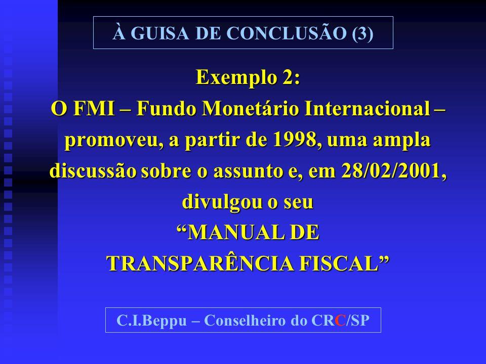 """Exemplo 2: O FMI – Fundo Monetário Internacional – promoveu, a partir de 1998, uma ampla discussão sobre o assunto e, em 28/02/2001, divulgou o seu """"M"""