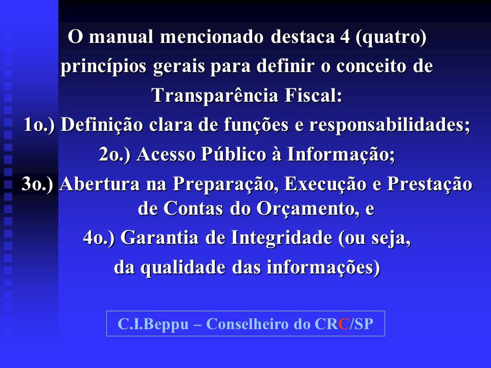 O manual mencionado destaca 4 (quatro) princípios gerais para definir o conceito de Transparência Fiscal: 1o.) Definição clara de funções e responsabi