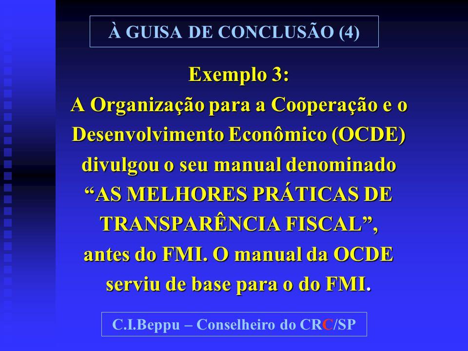 """Exemplo 3: A Organização para a Cooperação e o Desenvolvimento Econômico (OCDE) divulgou o seu manual denominado """"AS MELHORES PRÁTICAS DE TRANSPARÊNCI"""