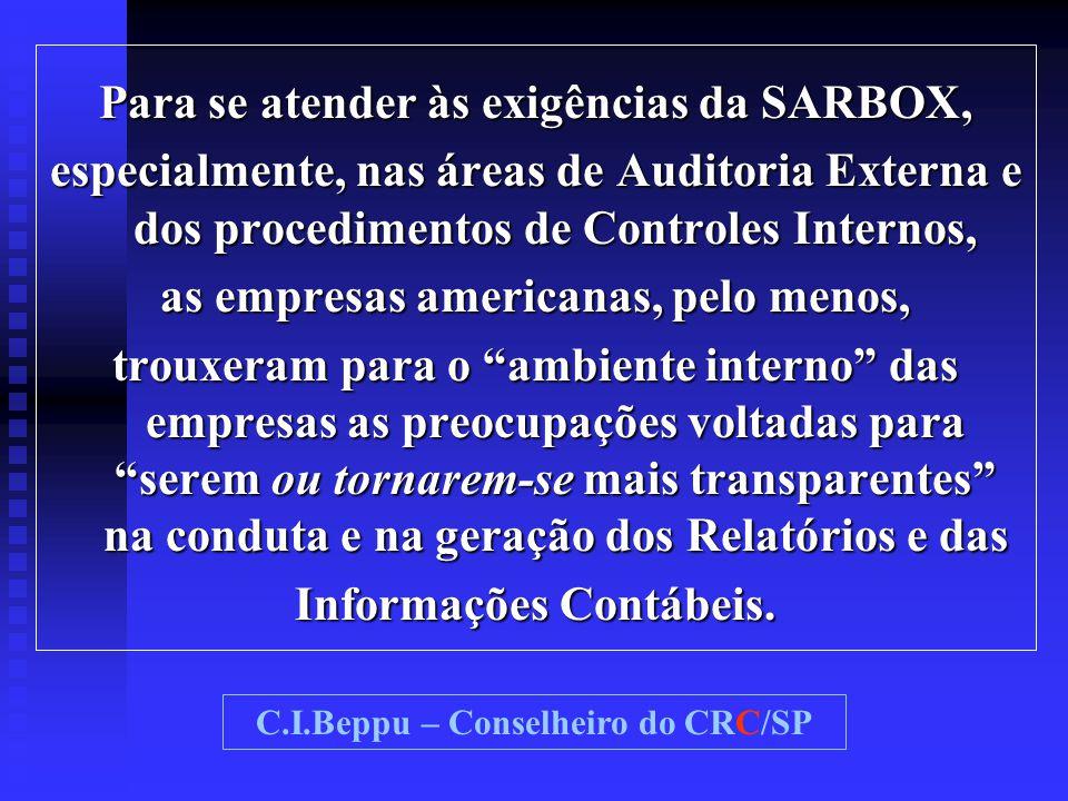 Para se atender às exigências da SARBOX, especialmente, nas áreas de Auditoria Externa e dos procedimentos de Controles Internos, as empresas american