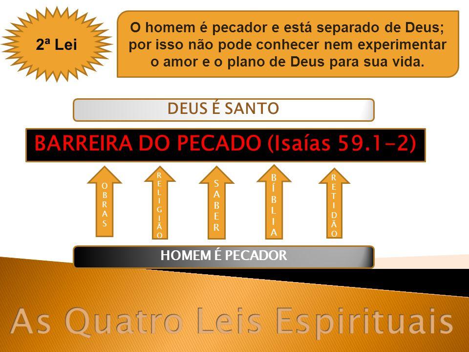 2ª Lei O homem é pecador e está separado de Deus; por isso não pode conhecer nem experimentar o amor e o plano de Deus para sua vida. DEUS É SANTO HOM