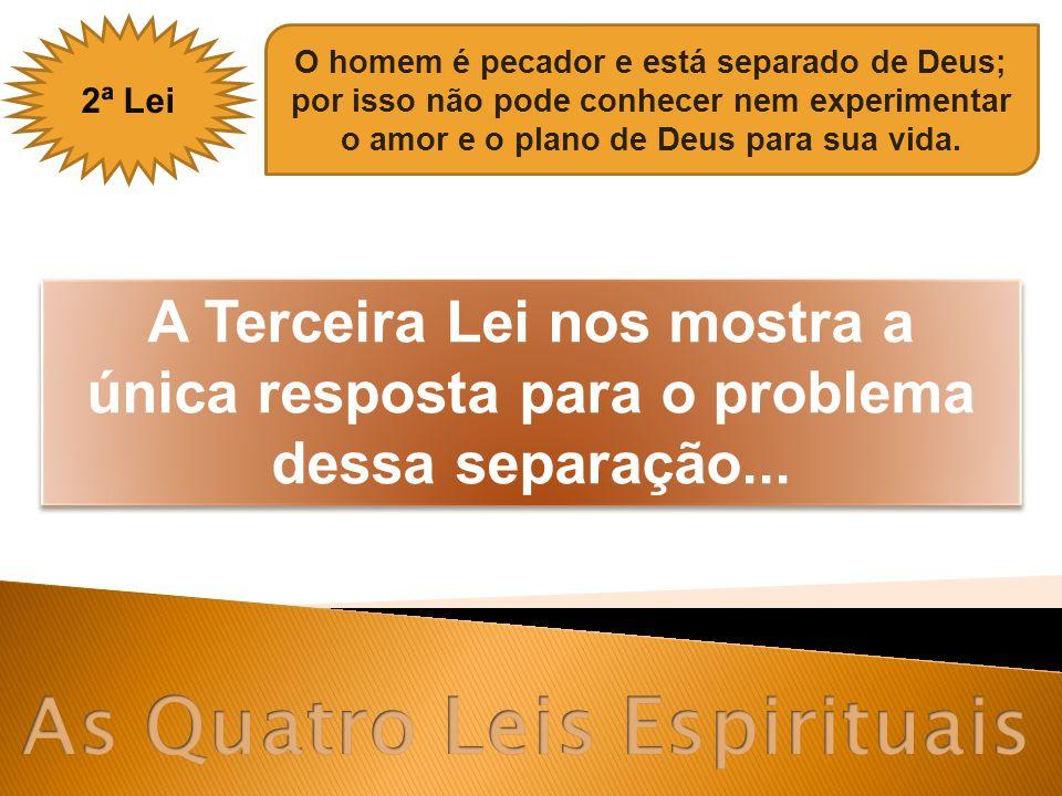 2ª Lei O homem é pecador e está separado de Deus; por isso não pode conhecer nem experimentar o amor e o plano de Deus para sua vida. A Terceira Lei n