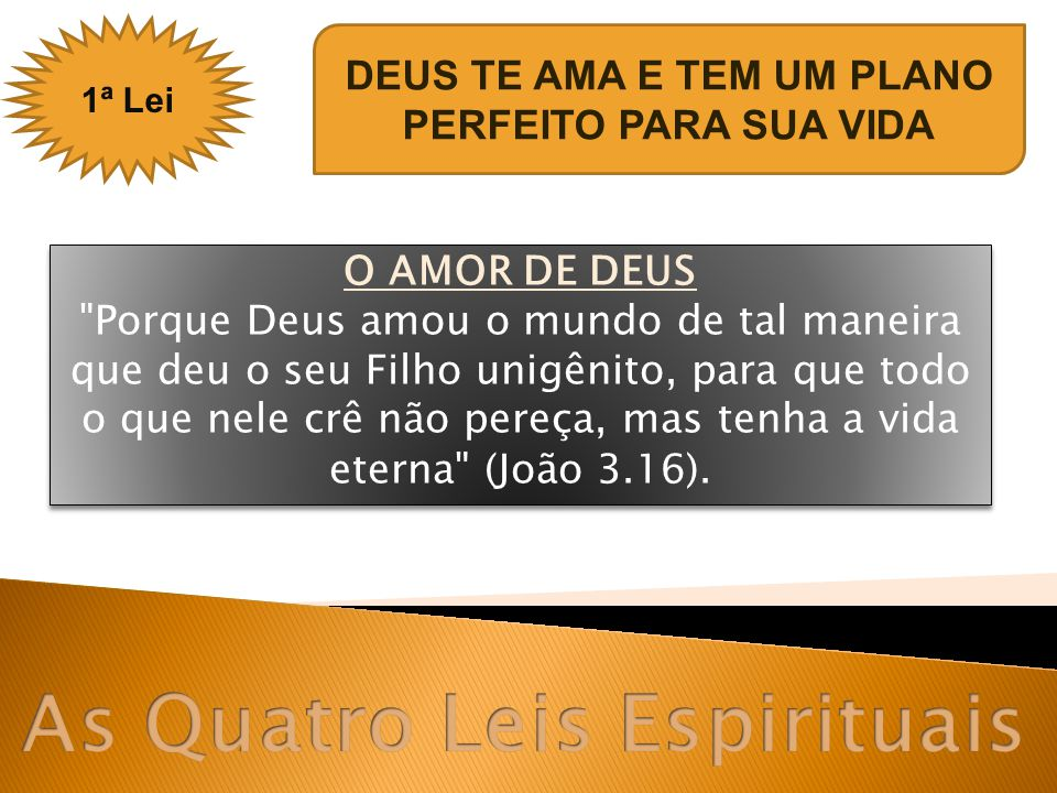 O PLANO DE DEUS Cristo afirma: ...eu vim para que tenham vida e a tenham em abundância [Uma vida completa e com propósito] (João 10.10).