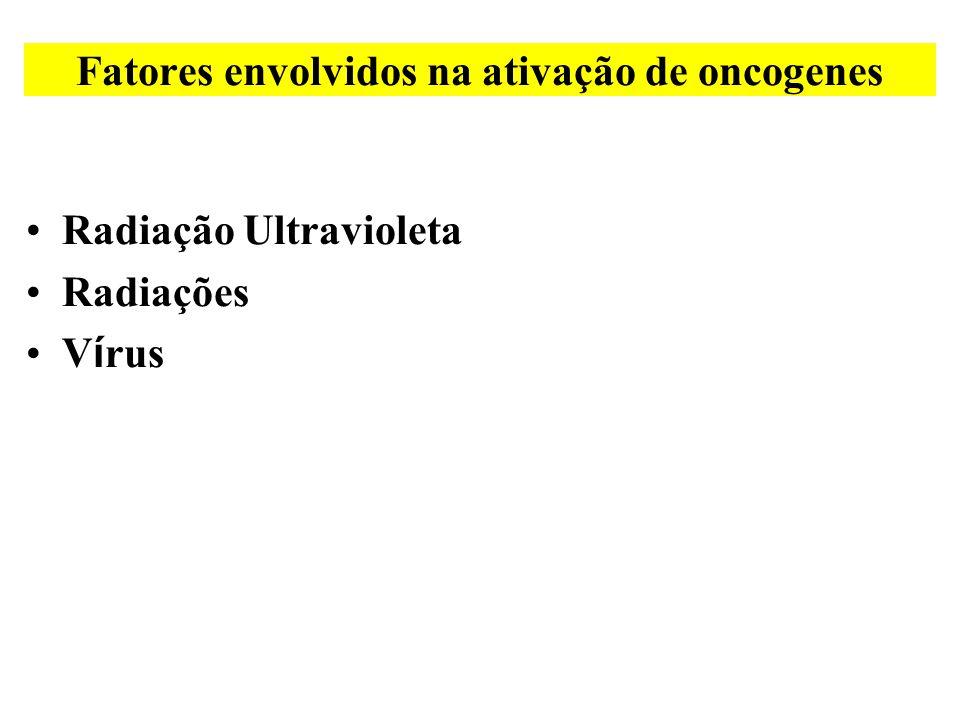 •Radiação Ultravioleta •Radiações •V í rus Fatores envolvidos na ativação de oncogenes