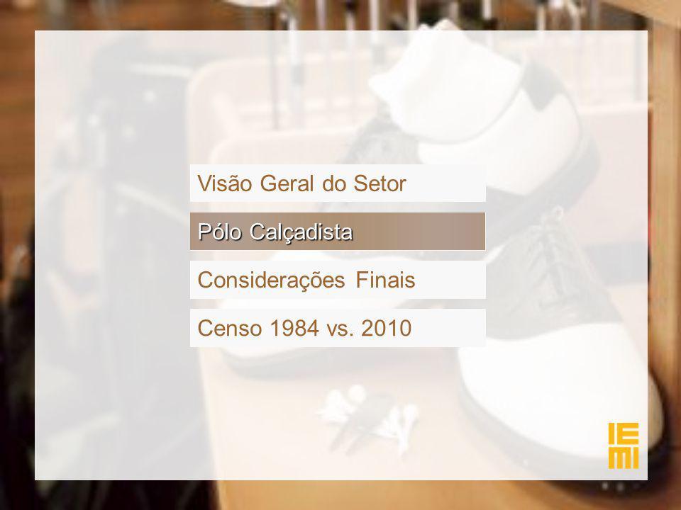 Pólo Calçadista Visão Geral do Setor Considerações Finais Censo 1984 vs. 2010 Pólo Calçadista