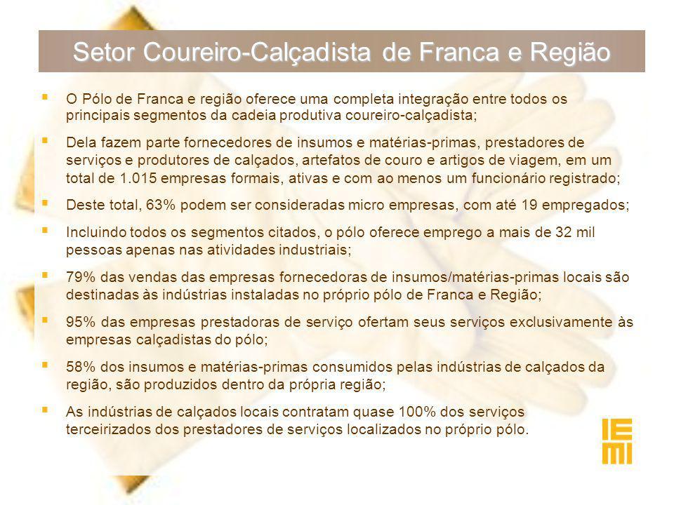 Setor Coureiro-Calçadista de Franca e Região  O Pólo de Franca e região oferece uma completa integração entre todos os principais segmentos da cadeia