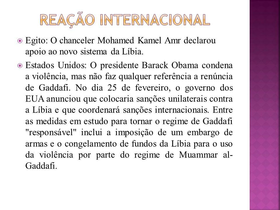  Egito: O chanceler Mohamed Kamel Amr declarou apoio ao novo sistema da Líbia.  Estados Unidos: O presidente Barack Obama condena a violência, mas n