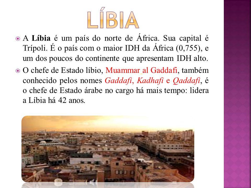  A Líbia é um país do norte de África. Sua capital é Trípoli. É o país com o maior IDH da África (0,755), e um dos poucos do continente que apresenta