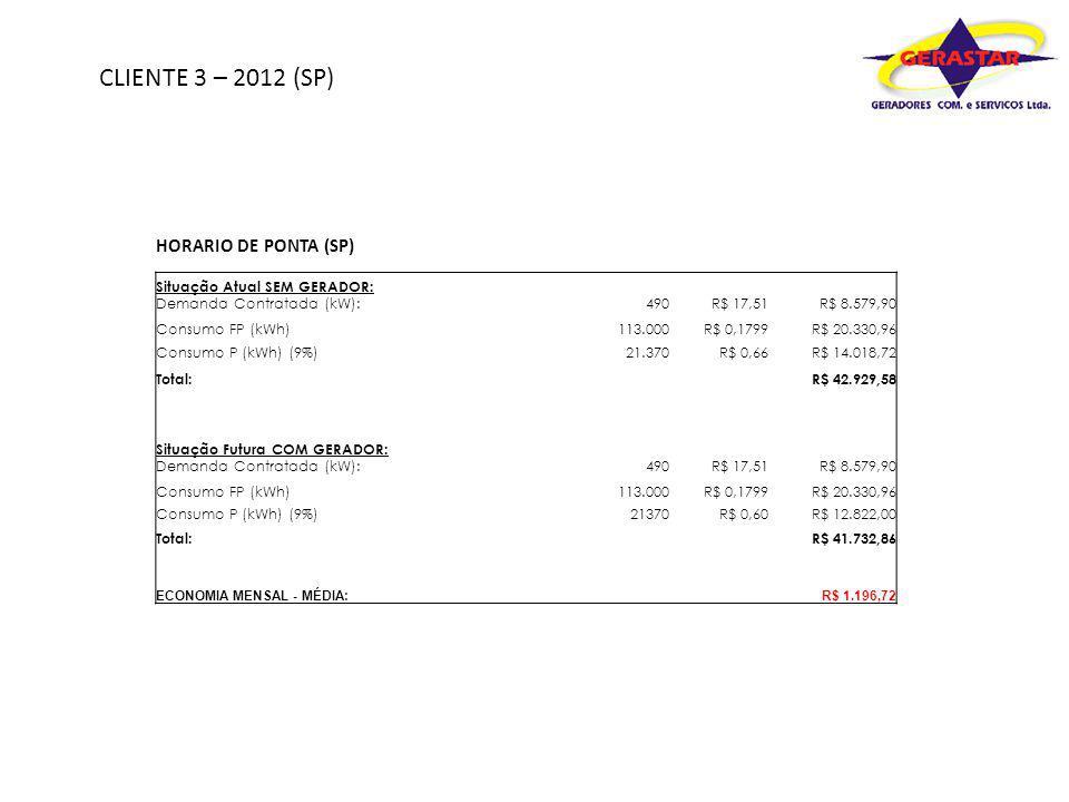 CLIENTE 3 – 2012 (SP) HORARIO DE PONTA (SP) Situação Atual SEM GERADOR: Demanda Contratada (kW):490R$ 17,51R$ 8.579,90 Consumo FP (kWh)113.000R$ 0,179