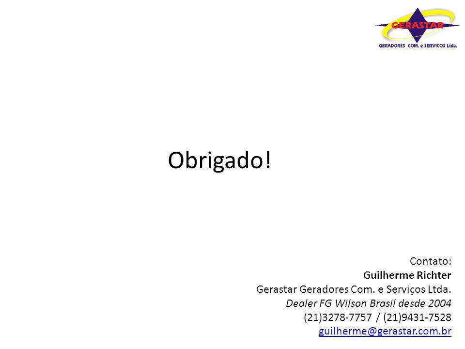 Obrigado! Contato: Guilherme Richter Gerastar Geradores Com. e Serviços Ltda. Dealer FG Wilson Brasil desde 2004 (21)3278-7757 / (21)9431-7528 guilher