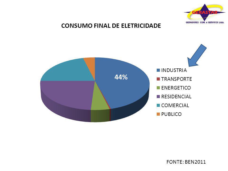44% ANO GERADORES DIESEL UNIDADES/ANO - Brasil UTILIZAÇÃO EM HP %UNID 20077000 352450 20088900 373293 20099500 403800 201011200 404480 201112500 425250 19273 POTENCIA MÉDIA COMERCIALIZADA PARA ESTA APLICAÇÃO 300 kW (360 kVA) TOTAL DE GERAÇÃO ESTIMADO (GW)5,78 Considerações: Os valores acima são aproximados, de acordo com volume comercializado no RJ e SP (demais estados por aproximação) Fonte: FG Wilson / Woodward / Gerastar / Caterpillar Mercado cativo privado