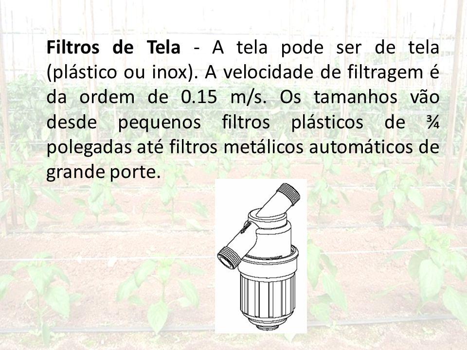 Filtros de Tela - A tela pode ser de tela (plástico ou inox).