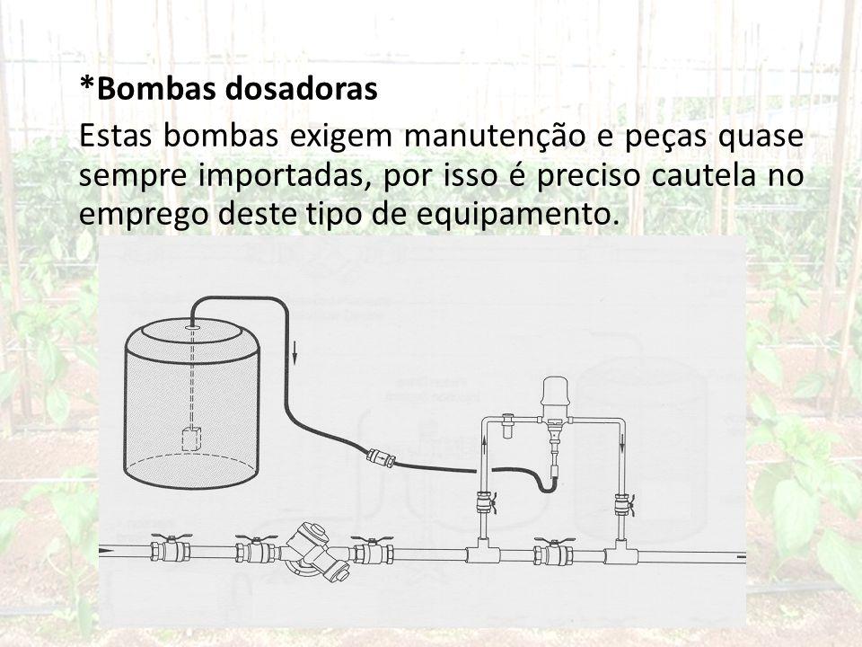 *Bombas dosadoras Estas bombas exigem manutenção e peças quase sempre importadas, por isso é preciso cautela no emprego deste tipo de equipamento.