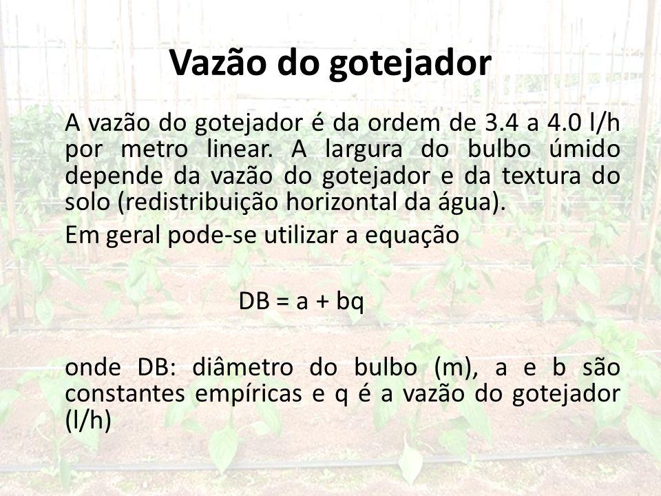 Vazão do gotejador A vazão do gotejador é da ordem de 3.4 a 4.0 l/h por metro linear.