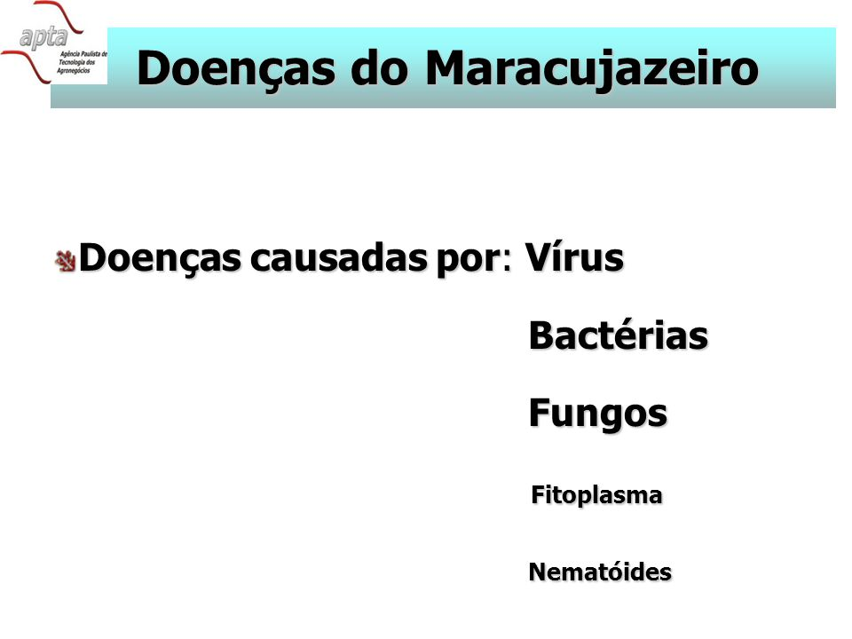 Doenças do Maracujazeiro Doenças causadas por: Vírus Bactérias Bactérias Fungos Fungos Fitoplasma Fitoplasma Nematóides Nematóides