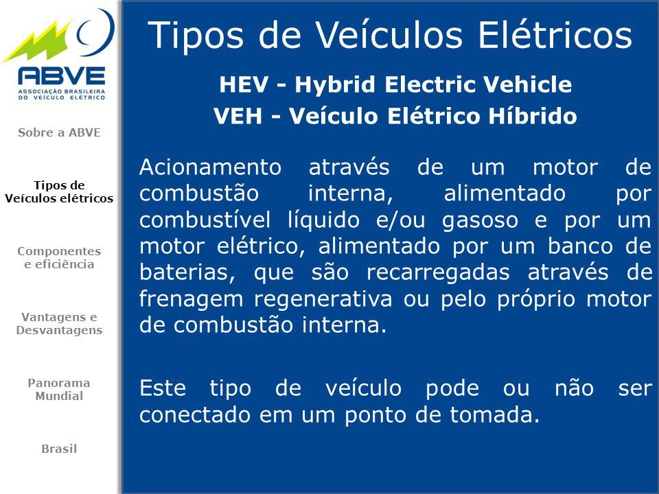 Tipos de Veículos Elétricos Sobre a ABVE Tipos de Veículos elétricos Componentes e eficiência Vantagens e Desvantagens Panorama Mundial Brasil Acionam