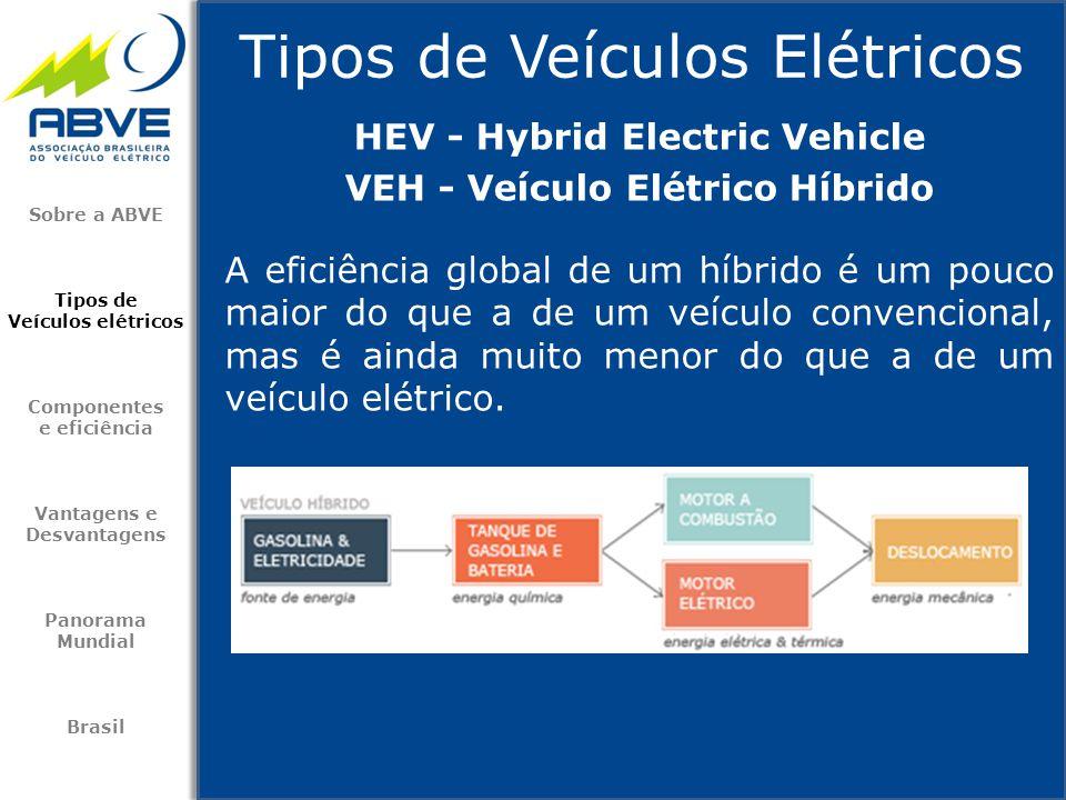 Tipos de Veículos Elétricos Sobre a ABVE Tipos de Veículos elétricos Componentes e eficiência Vantagens e Desvantagens Panorama Mundial Brasil A efici