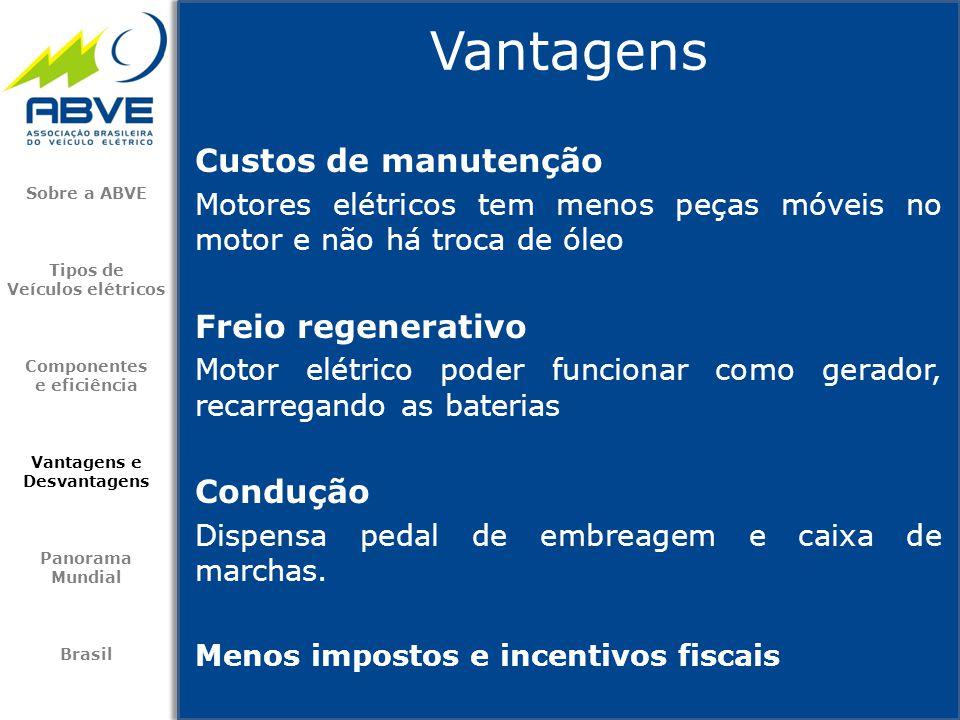 Custos de manutenção Motores elétricos tem menos peças móveis no motor e não há troca de óleo Freio regenerativo Motor elétrico poder funcionar como g