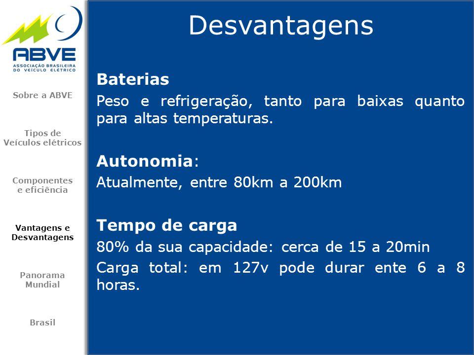 Baterias Peso e refrigeração, tanto para baixas quanto para altas temperaturas. Autonomia: Atualmente, entre 80km a 200km Tempo de carga 80% da sua ca