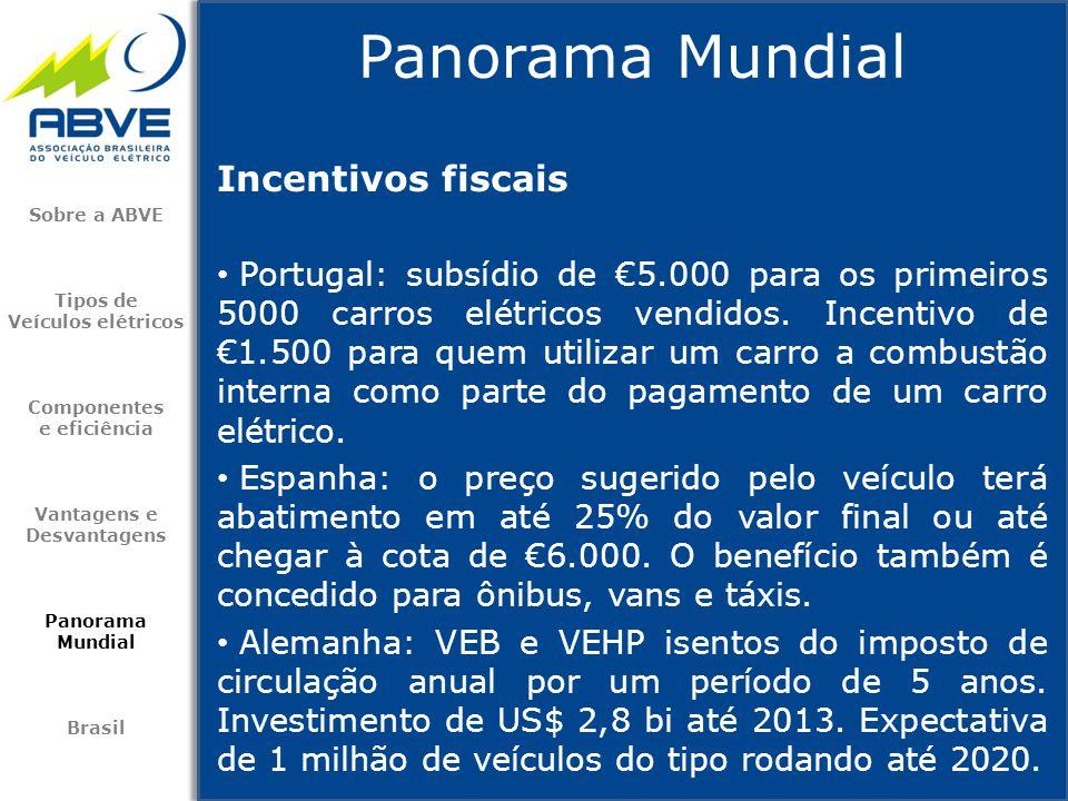 Incentivos fiscais • Portugal: subsídio de €5.000 para os primeiros 5000 carros elétricos vendidos. Incentivo de €1.500 para quem utilizar um carro a