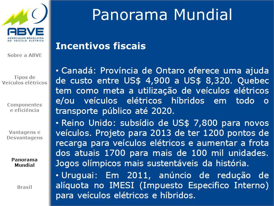 Incentivos fiscais • Canadá: Província de Ontaro oferece uma ajuda de custo entre US$ 4,900 a US$ 8,320. Quebec tem como meta a utilização de veículos