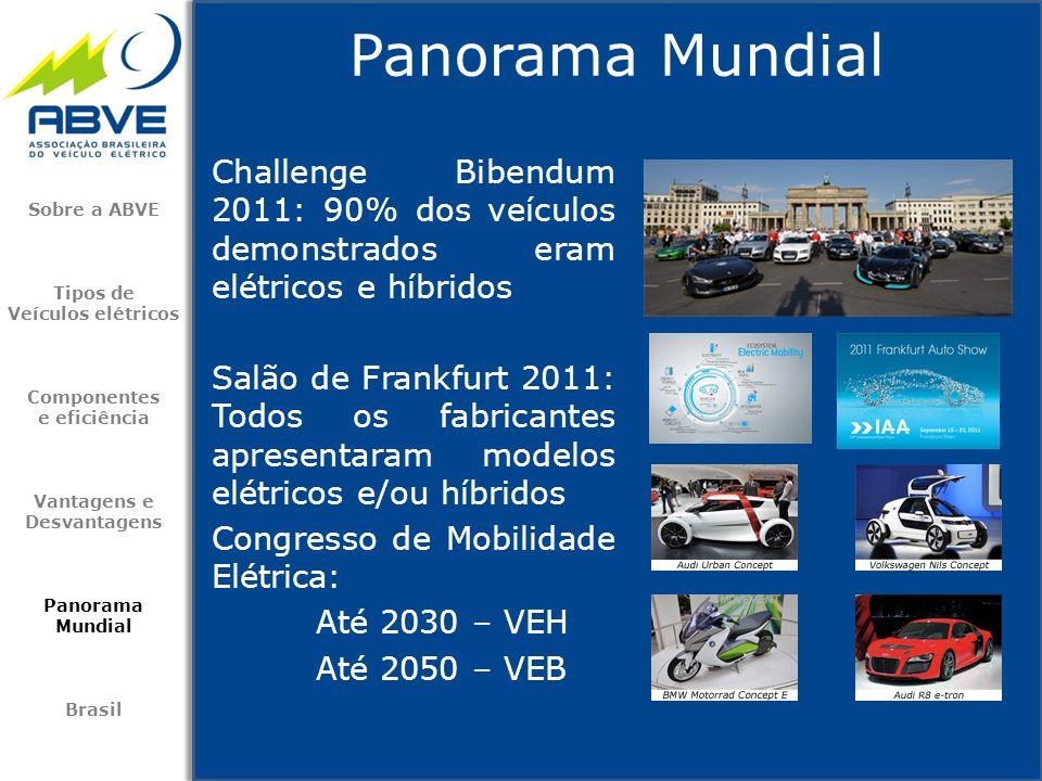 Challenge Bibendum 2011: 90% dos veículos demonstrados eram elétricos e híbridos Salão de Frankfurt 2011: Todos os fabricantes apresentaram modelos el