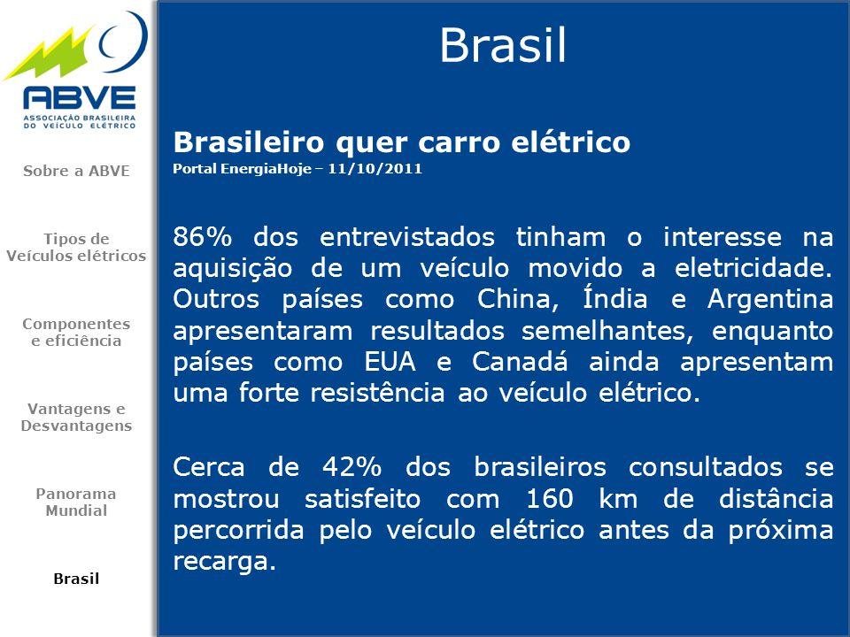 Brasileiro quer carro elétrico Portal EnergiaHoje – 11/10/2011 86% dos entrevistados tinham o interesse na aquisição de um veículo movido a eletricida