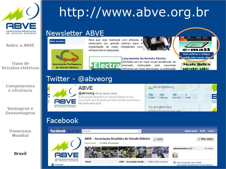 Newsletter ABVE http://www.abve.org.br Sobre a ABVE Tipos de Veículos elétricos Componentes e eficiência Vantagens e Desvantagens Panorama Mundial Bra