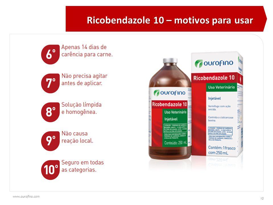 www.ourofino.com 10 Ricobendazole 10 – motivos para usar
