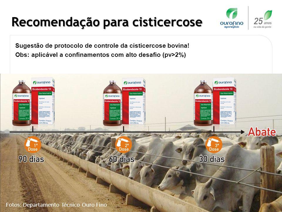 www.ourofino.com 11 Recomendação para cisticercose Sugestão de protocolo de controle da cisticercose bovina! Obs: aplicável a confinamentos com alto d