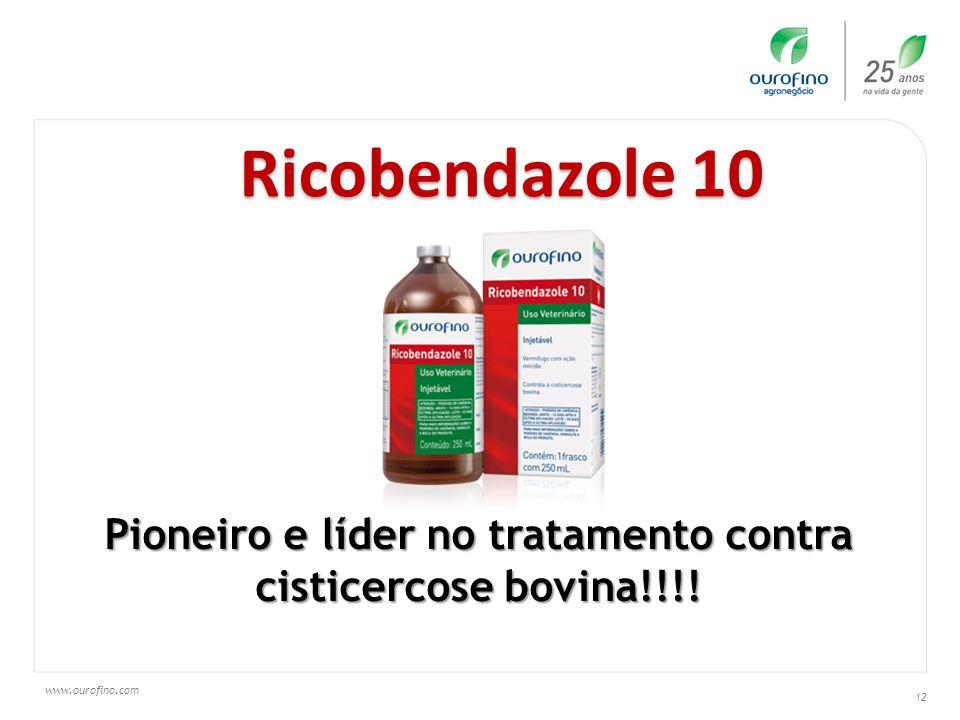 www.ourofino.com 12 Ricobendazole 10 Pioneiro e líder no tratamento contra cisticercose bovina!!!!
