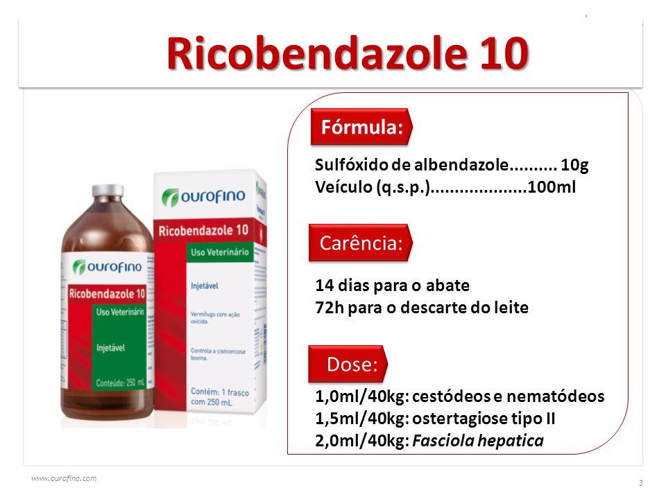 www.ourofino.com 3 Ricobendazole 10 Fórmula: Sulfóxido de albendazole.......... 10g Veículo (q.s.p.)....................100ml Carência: 14 dias para o