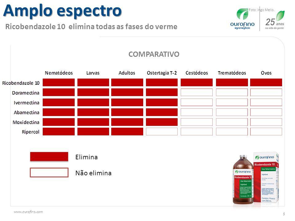 www.ourofino.com 5 Adaptado de UFRRJ, 2006 Amplo espectro Ricobendazole 10 elimina todas as fases do verme Foto: Ingo Mello. COMPARATIVO Elimina Não e