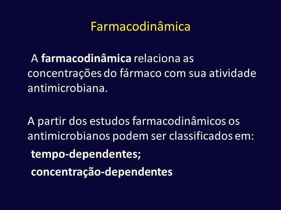 Farmacodinâmica A farmacodinâmica relaciona as concentrações do fármaco com sua atividade antimicrobiana. A partir dos estudos farmacodinâmicos os ant