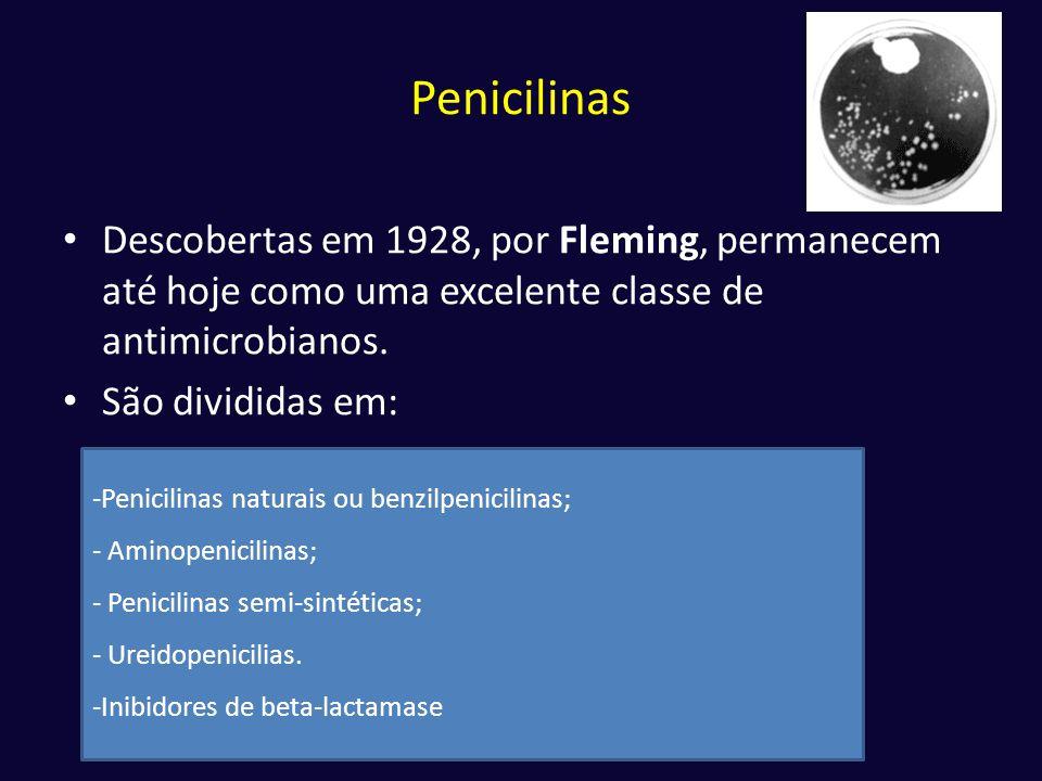 Penicilinas • Descobertas em 1928, por Fleming, permanecem até hoje como uma excelente classe de antimicrobianos. • São divididas em: -Penicilinas nat