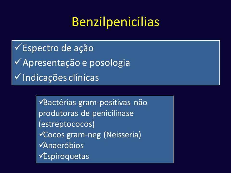 Benzilpenicilias  Espectro de ação  Apresentação e posologia  Indicações clínicas  Bactérias gram-positivas não produtoras de penicilinase (estrep