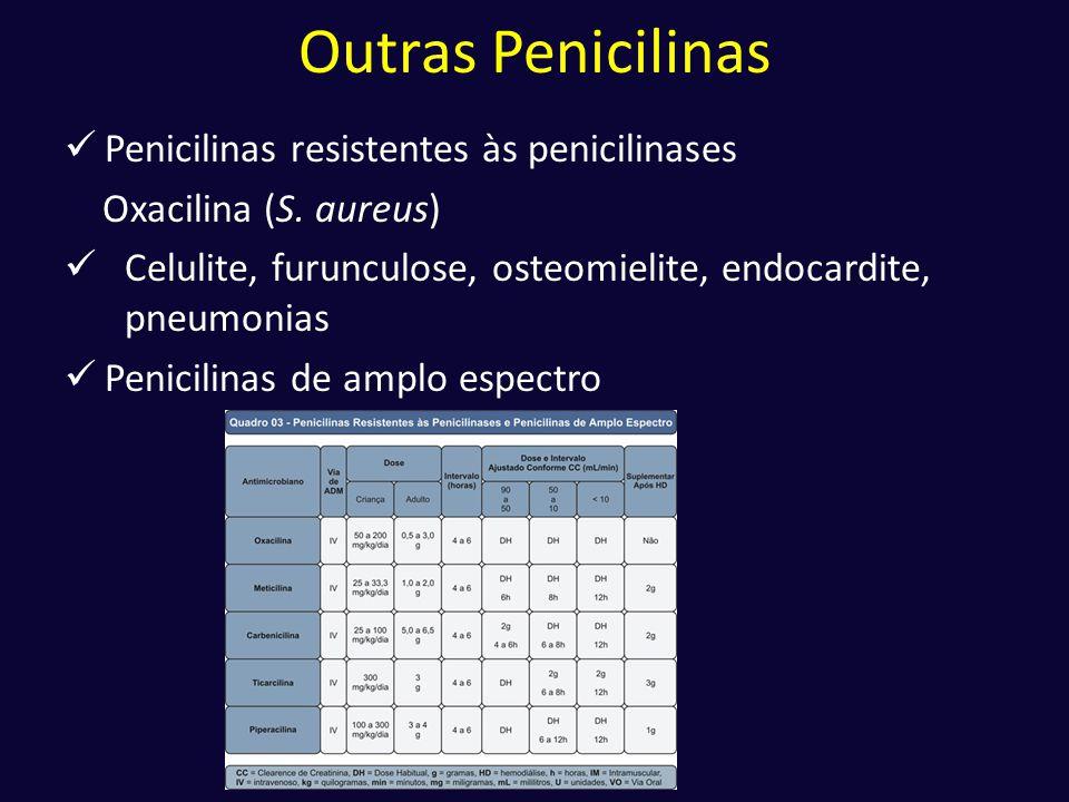 Outras Penicilinas  Penicilinas resistentes às penicilinases Oxacilina (S. aureus)  Celulite, furunculose, osteomielite, endocardite, pneumonias  P