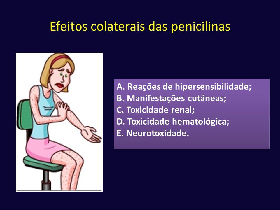 Efeitos colaterais das penicilinas A. Reações de hipersensibilidade; B. Manifestações cutâneas; C. Toxicidade renal; D. Toxicidade hematológica; E. Ne