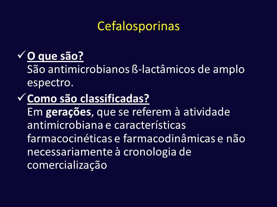 Cefalosporinas  O que são? São antimicrobianos ß-lactâmicos de amplo espectro.  Como são classificadas? Em gerações, que se referem à atividade anti