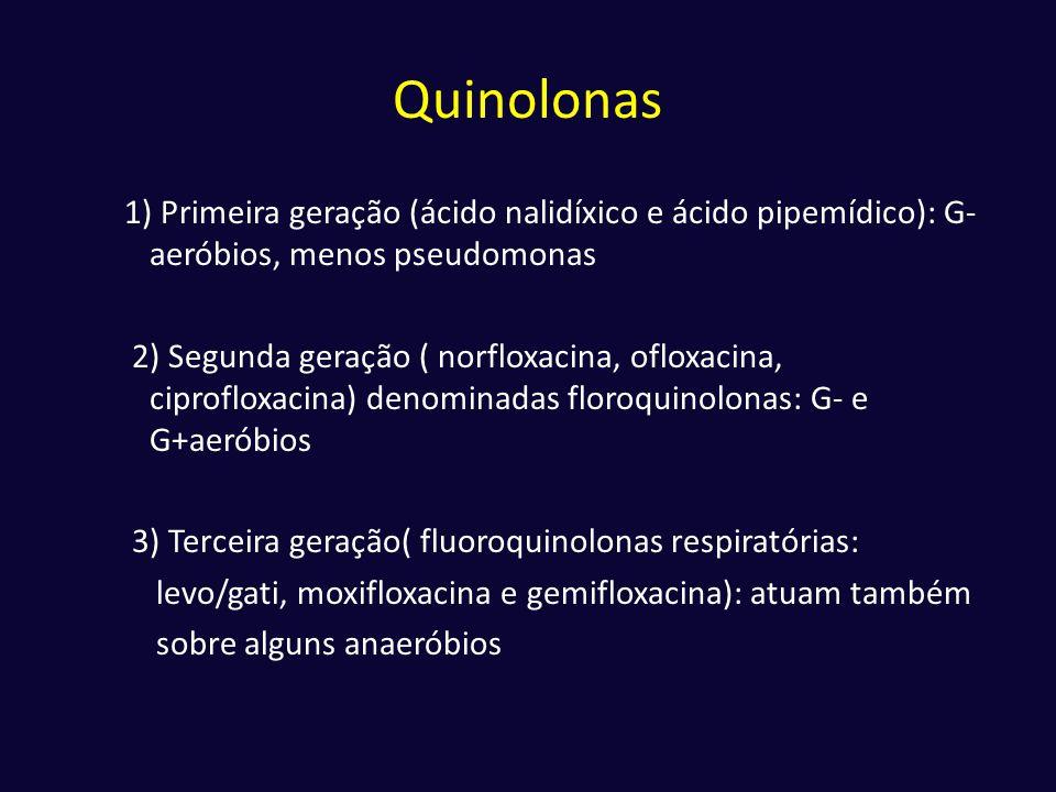 Quinolonas 1) Primeira geração (ácido nalidíxico e ácido pipemídico): G- aeróbios, menos pseudomonas 2) Segunda geração ( norfloxacina, ofloxacina, ci
