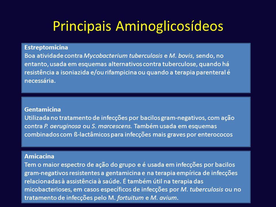Principais Aminoglicosídeos Estreptomicina Boa atividade contra Mycobacterium tuberculosis e M. bovis, sendo, no entanto, usada em esquemas alternativ
