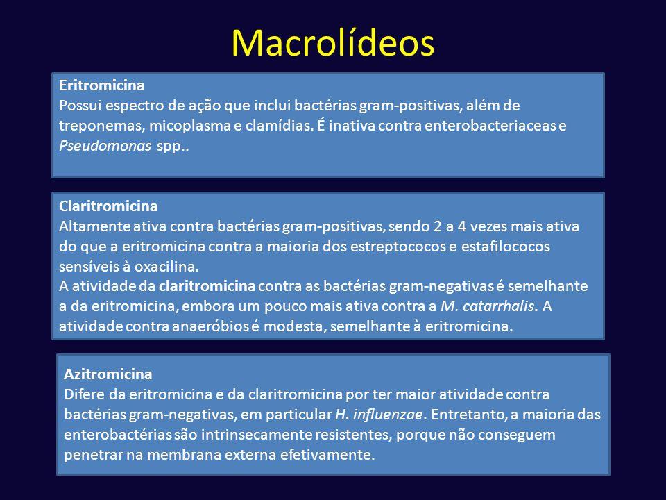Macrolídeos Eritromicina Possui espectro de ação que inclui bactérias gram-positivas, além de treponemas, micoplasma e clamídias. É inativa contra ent