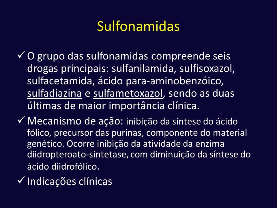Sulfonamidas  O grupo das sulfonamidas compreende seis drogas principais: sulfanilamida, sulfisoxazol, sulfacetamida, ácido para-aminobenzóico, sulfa