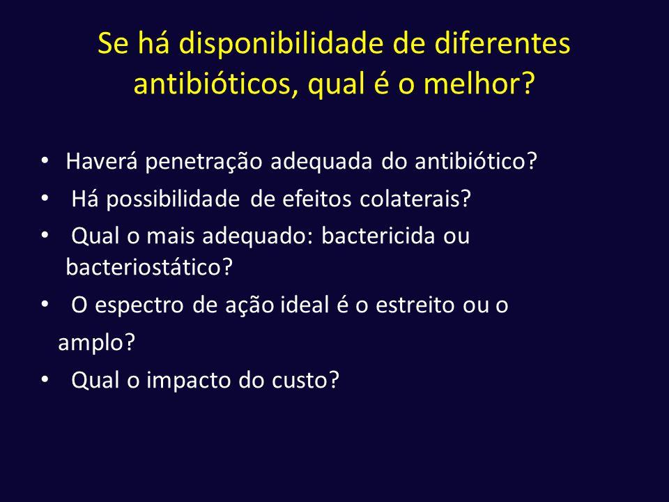 Se há disponibilidade de diferentes antibióticos, qual é o melhor? • Haverá penetração adequada do antibiótico? • Há possibilidade de efeitos colatera