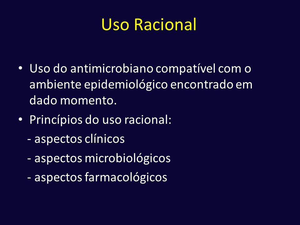 Uso Racional • Uso do antimicrobiano compatível com o ambiente epidemiológico encontrado em dado momento. • Princípios do uso racional: - aspectos clí