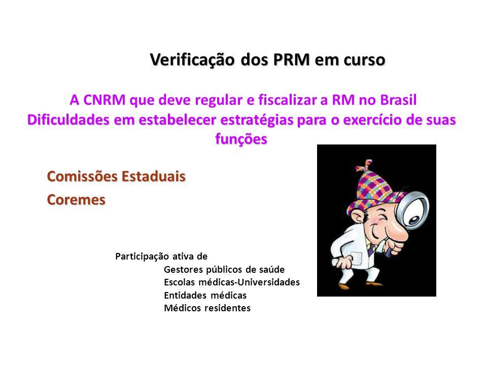 Verificação dos PRM em curso Dificuldades em estabelecer estratégias para o exercício de suas funções Verificação dos PRM em curso A CNRM que deve reg