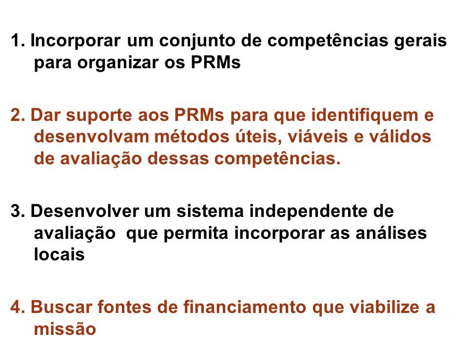 1. Incorporar um conjunto de competências gerais para organizar os PRMs 2. Dar suporte aos PRMs para que identifiquem e desenvolvam métodos úteis, viá