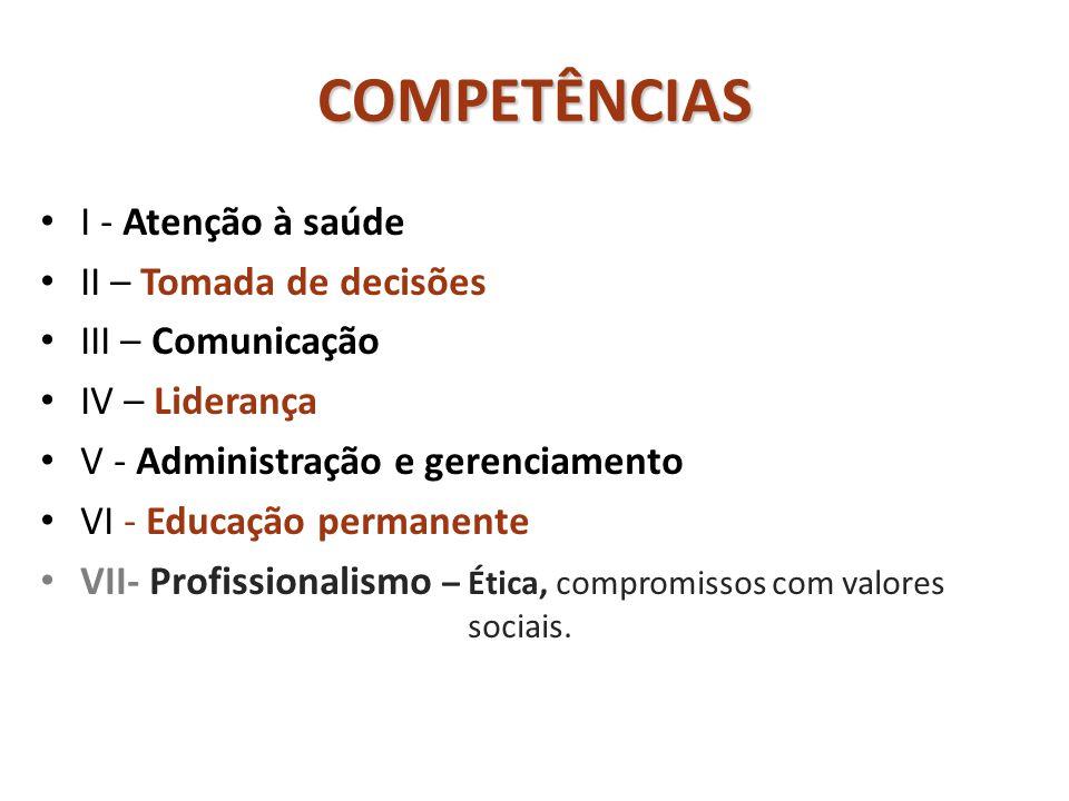 COMPETÊNCIAS • I - Atenção à saúde • II – Tomada de decisões • III – Comunicação • IV – Liderança • V - Administração e gerenciamento • VI - Educação