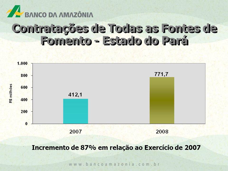 Incremento de 87% em relação ao Exercício de 2007 Contratações de Todas as Fontes de Fomento - Estado do Pará